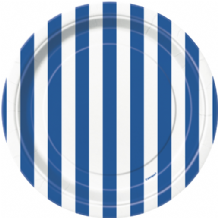 "Small Royal Blue Stripe Plates - 7"" Paper Plates (8pcs)"